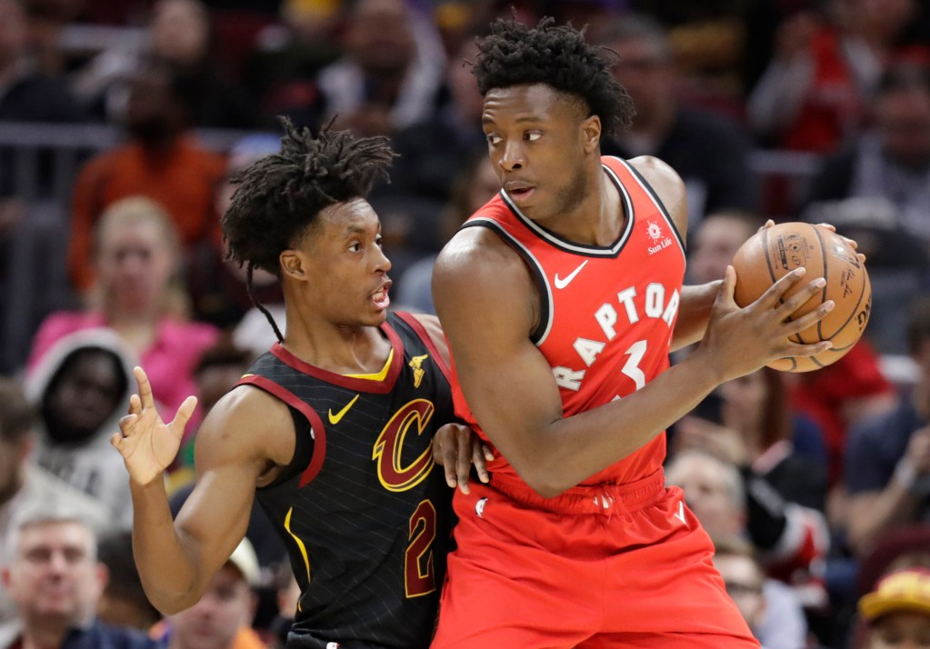 Toronto's OG Anunoby drives past Cleveland's Collin Sexton during the Cavaliers' 126-101 win in Cleveland.