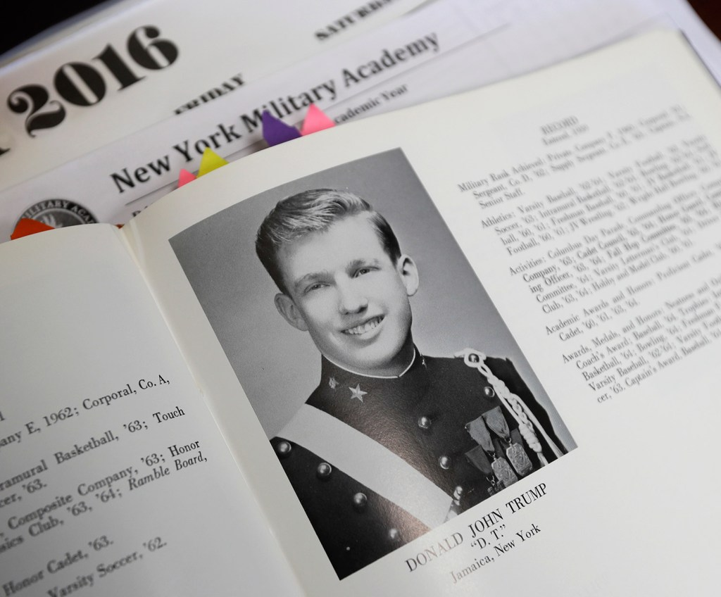 Donald Trump is shown in the 1964 Shrapnel yearbook at the New York Military Academy in Cornwall-on-Hudson, N.Y. The superintendent, Jeffrey Coverdale, confirmed Monday that members of the school's board of trustees initially wanted him to hand over Trump's records to them in 2011 in order to keep them secret, but Coverdale said he refused.