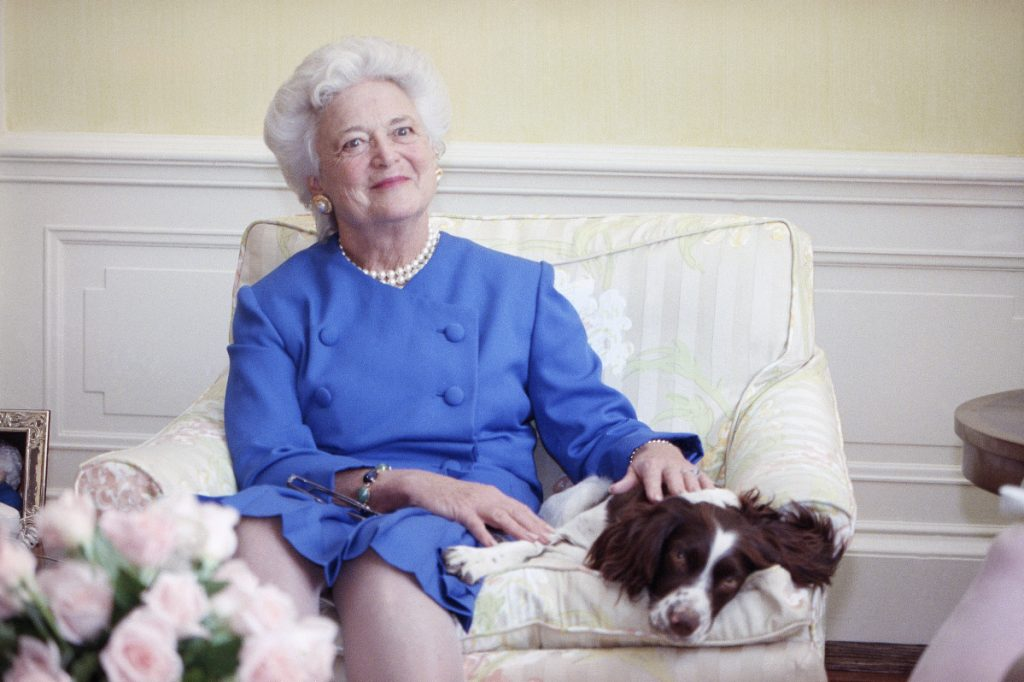 """First Lady Barbara Bush, shown with her dog Millie in 1990, is described in a new book as suffering """"angst"""" over the candidacy of Donald Trump."""