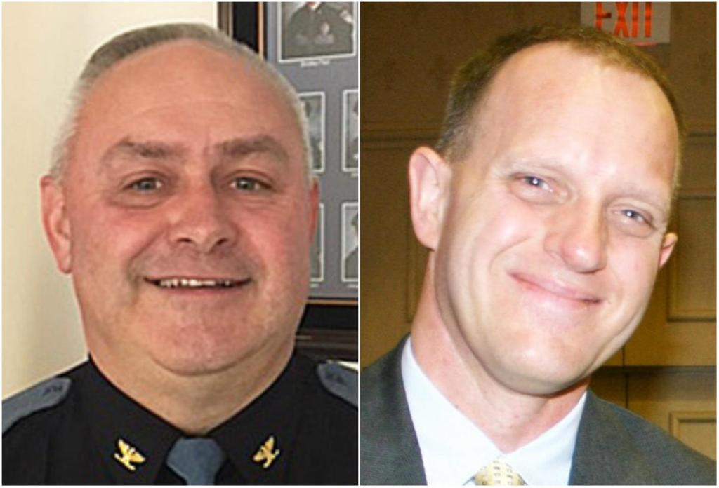 Saco Police Chief Raynald Demers, left, and Deputy Chief Corey Huntress