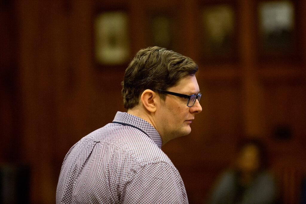 A mistrial was declared in the case of Noah Gaston, shown in February, when Maine's chief medical examiner changed his opinion about the angle of the gunshot that killed Gaston's wife, Alicia Gaston, at their home in 2016.