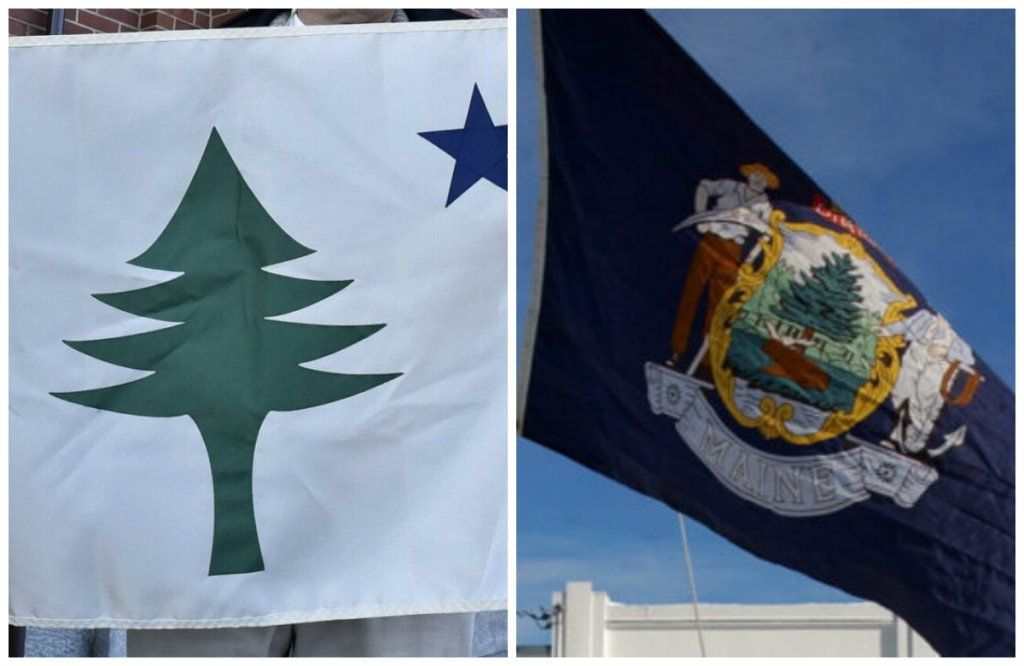 Dueling Maine flags: The original, left, which some are advocating be adopted, and the current flag, which bears the Maine state seal.
