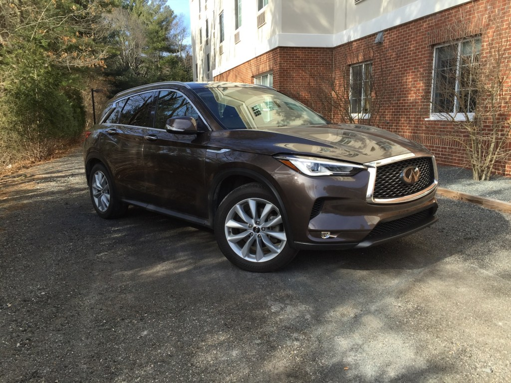 """The new Infiniti QX50: """"Endowed with the responses and performance that may remind drivers of early G35 Infiniti coupes."""" Photo by Tim Plouff."""