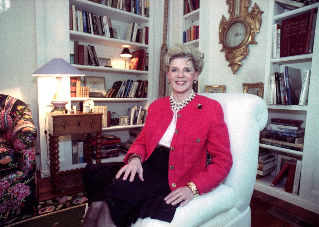 Judith Krantz, poses in an undated file photo during an interview at her home in the Bel Air section of Los Angeles.