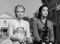 "Good girl/bad girl: Grace Kelly as Quaker wife: Grace Kelly as ""Amy Fowler"" & Katy Jurado as ""Helen Ramirez"" in High Noon (1952)"