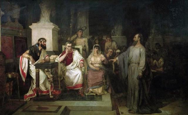 Суриков: Апостол Павел объясняет догматы веры в присутствии царя Агриппы, сестры его Береники и проконсула Феста. 1875