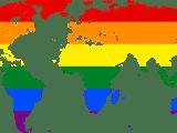mapa świata w kolorach flagi osób LGBT+