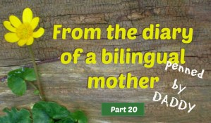 From the diary of a bilingual mother, part 20 (penned by daddy)