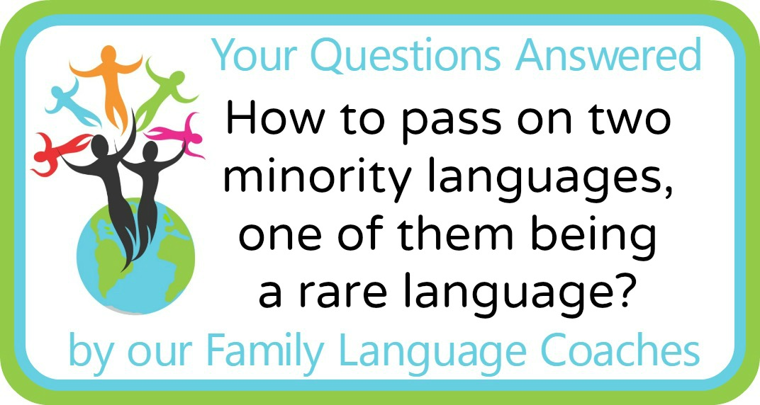 Q&A: How to pass on two minority languages, one of them being  a rare language?