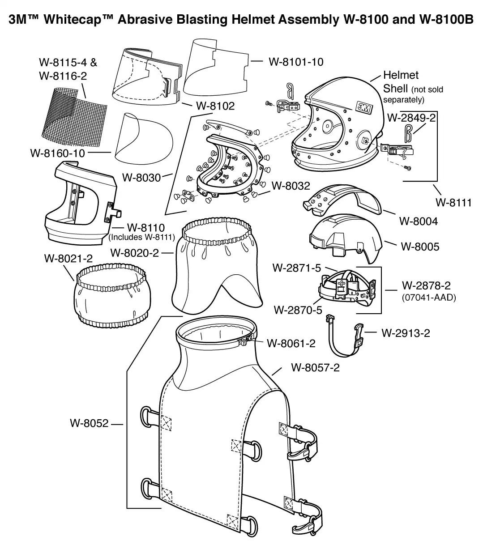 3m Whitecap Abrasive Blasting Helmet Assembly W B