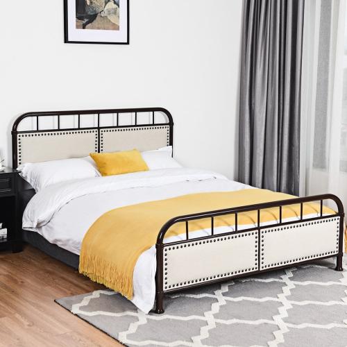 Costway Queen Size Metal Bed Frame Platform Bed Upholstered Panel Headboard Footboard Best Buy Canada