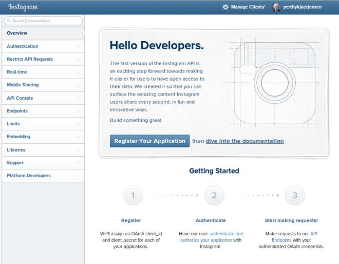 Instagram Developer - here you register.