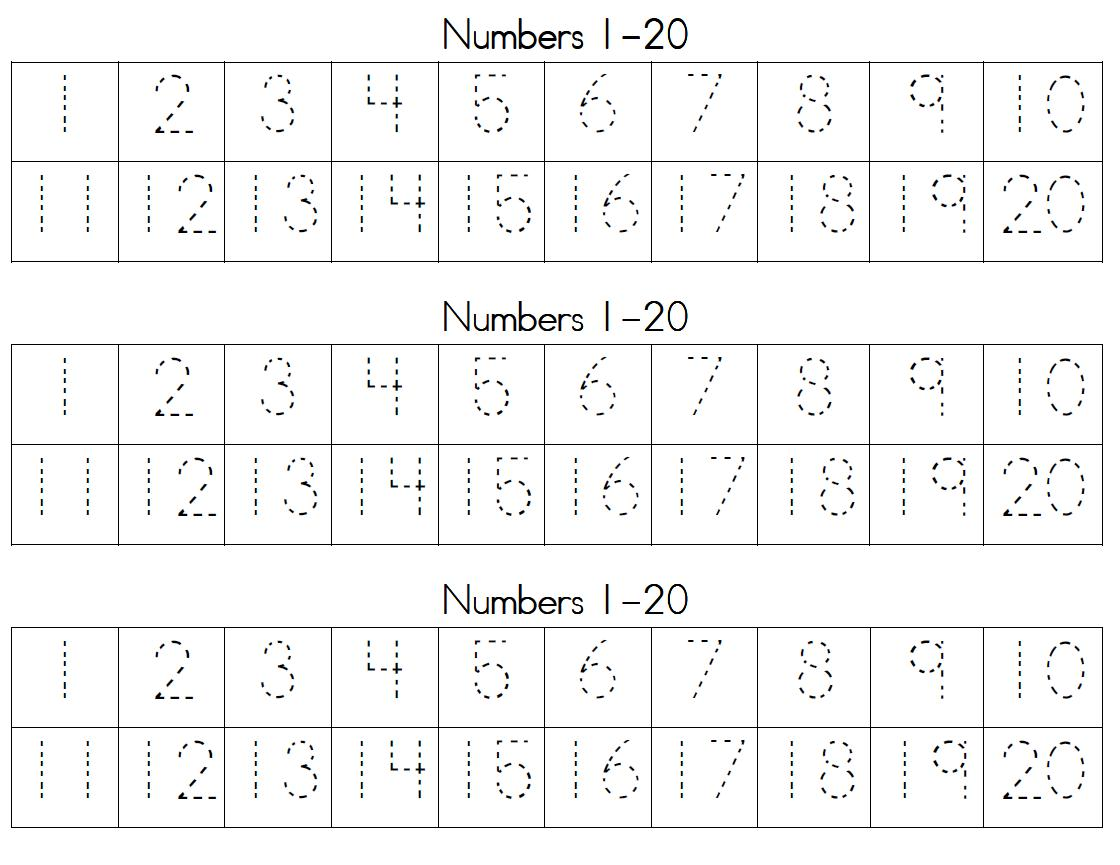 Dotted Line Numbers Worksheet
