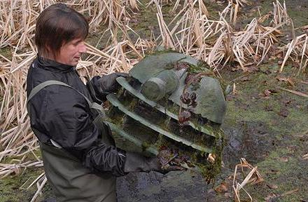 A Dalek from Dr Who was found submerged in a pond by volunteers enlisted to clear it of rubbish.