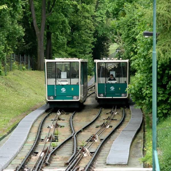 The Petrin Hill funicular in Prague