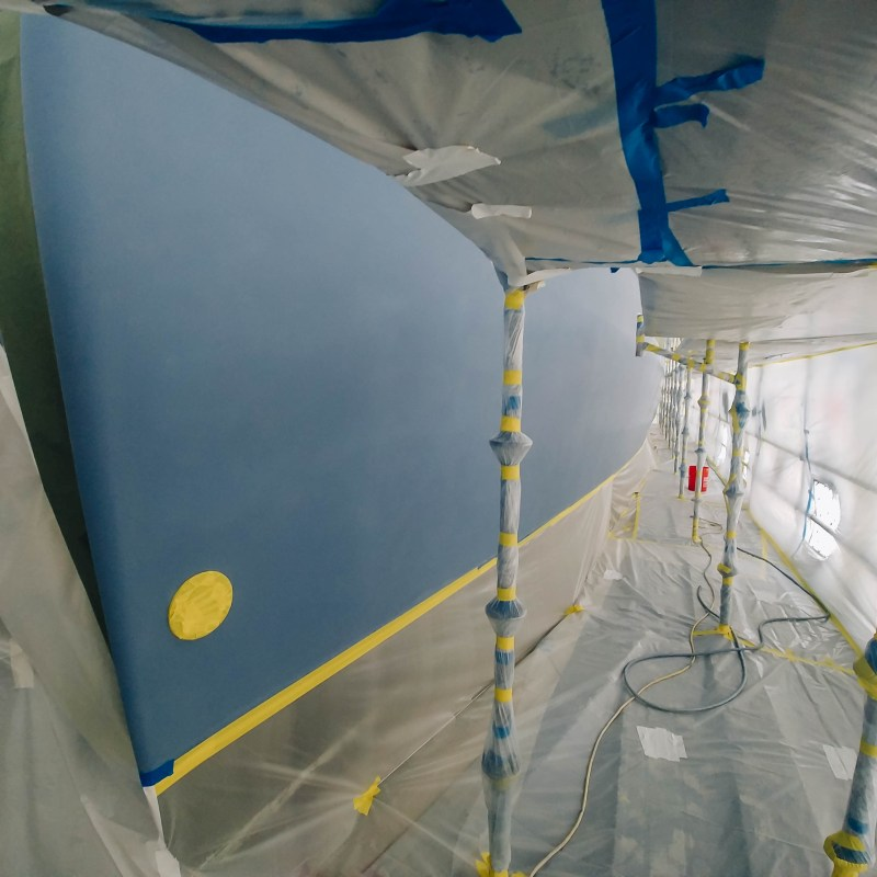 Process of Painting Yacht Hull