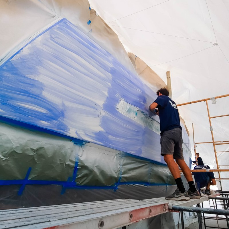 Prepping a Yacht for Paint Job