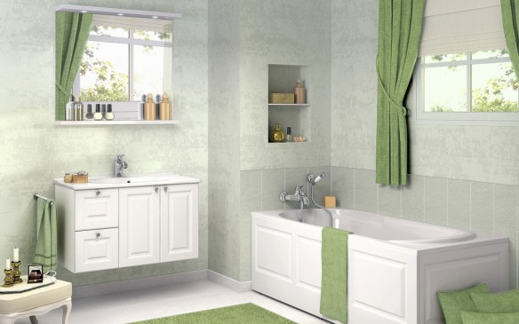 Bathroom-Design-ideas-with-Green-Curtain