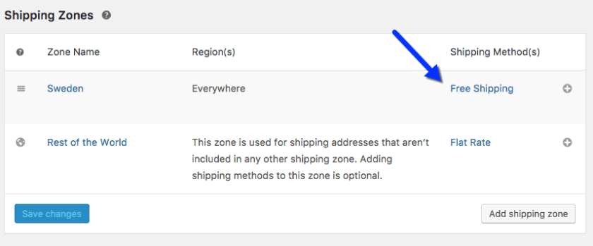 Free Shipping zone