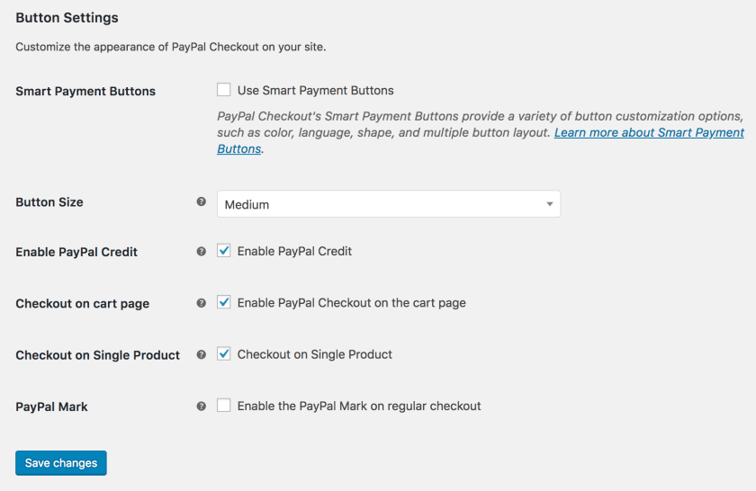 PayPal Checkout Button Settings