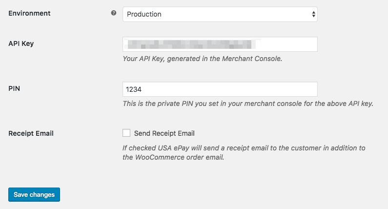 WooCommerce USA ePay Connection Settings