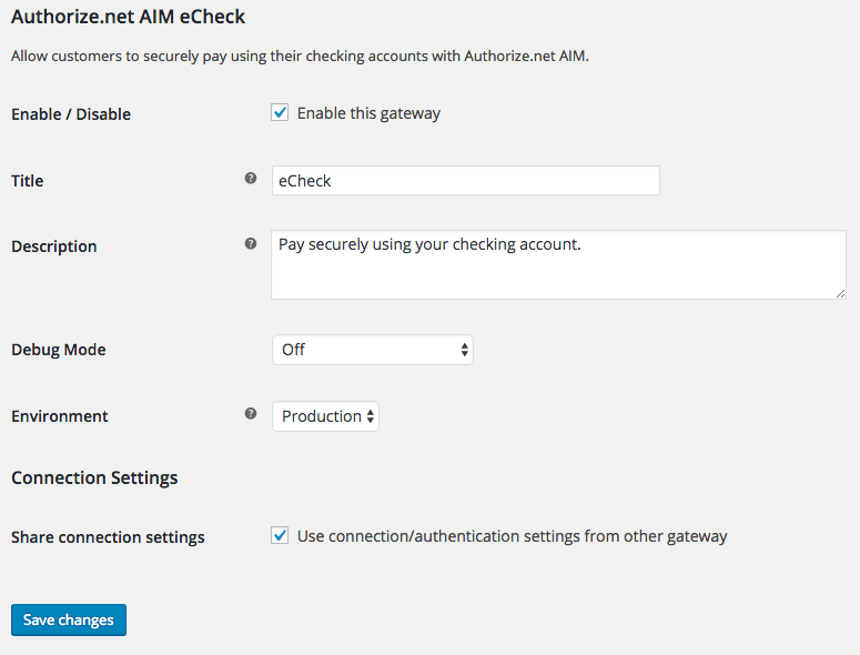 WooCommerce Authorize.Net eCheck Settings