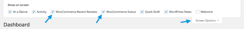 WooCommerce screen options