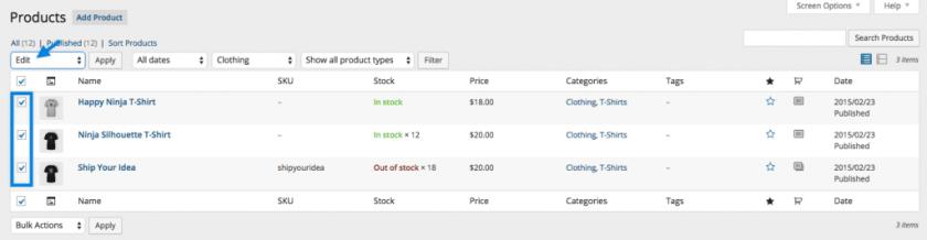 WooCommerce Shipping classes bulk edit