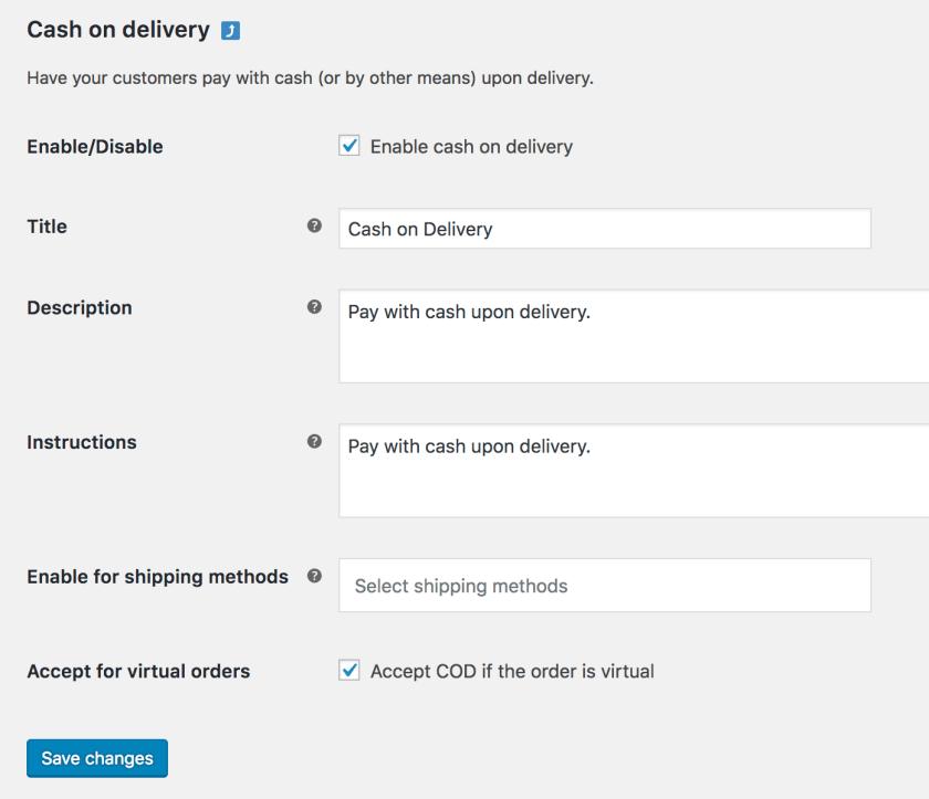 Cash on delivery set up