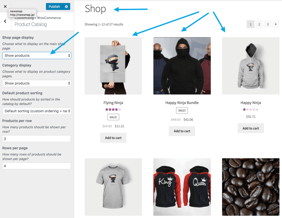 Shop page products