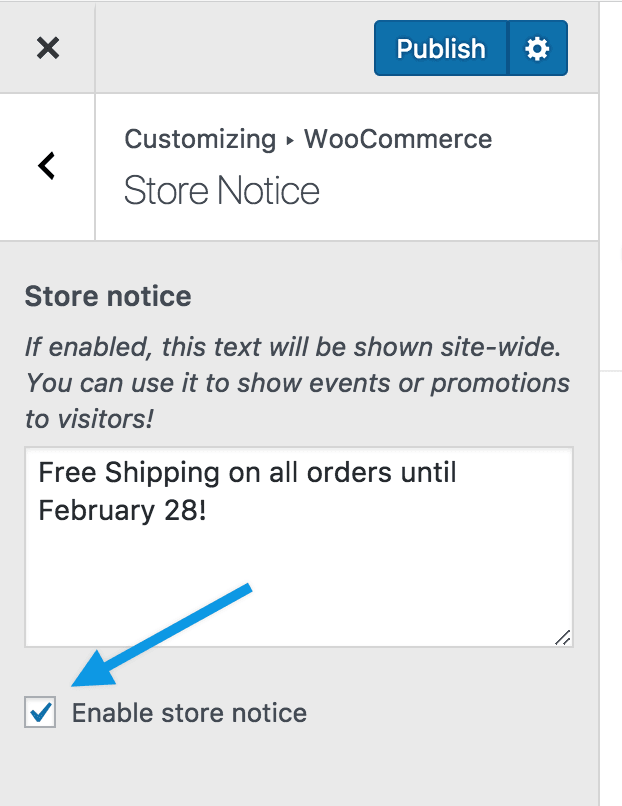 Customize store notice enable