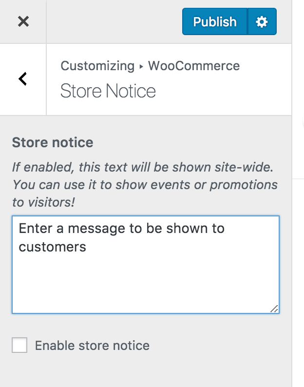 Customize Store Notice option