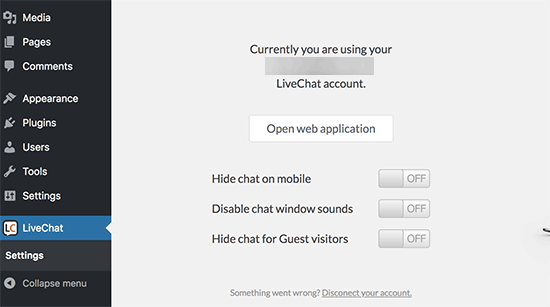 livechat wp settings