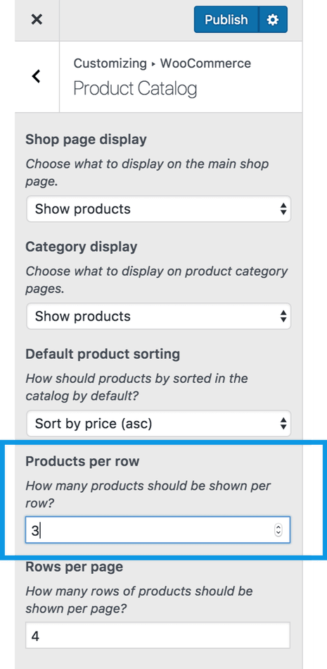 Product row size