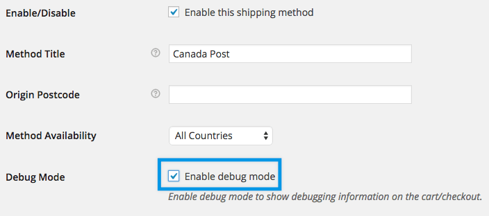 Shipping Canada Post Settings