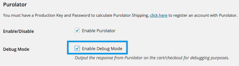 SHipping purolator settings