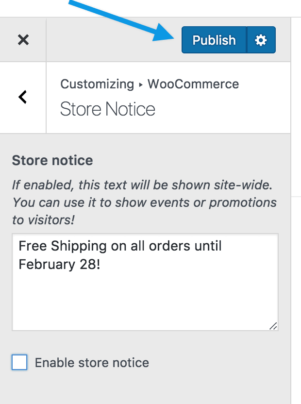 Store notice publish to change