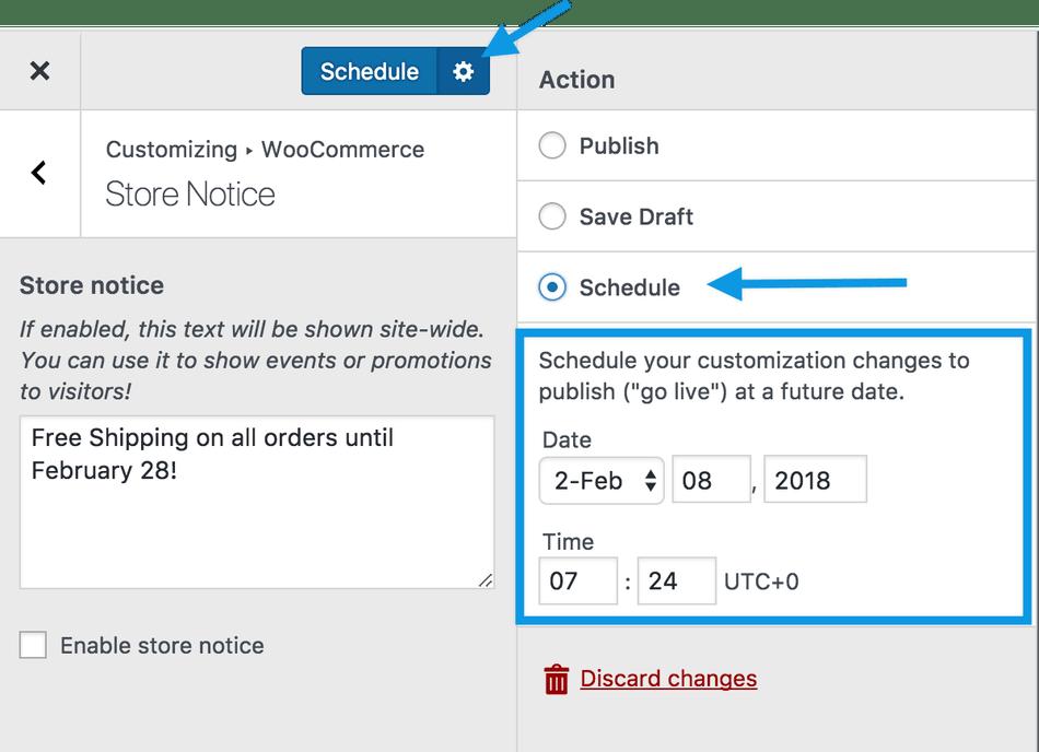 Store notice schedule change