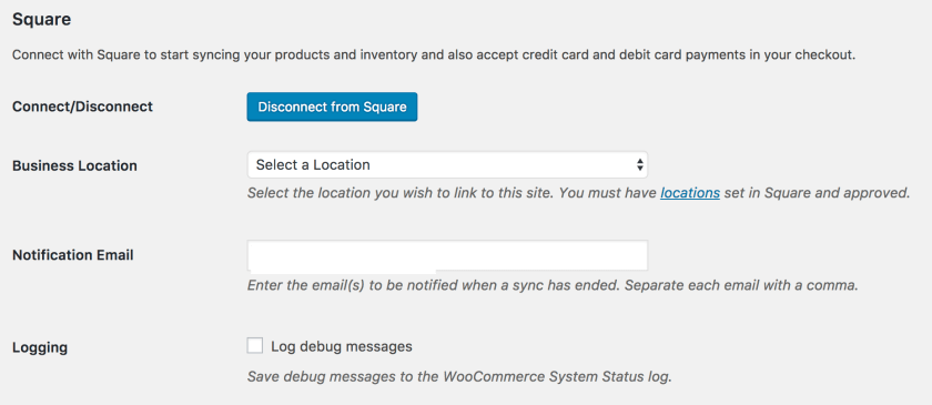 Woo square integration settings