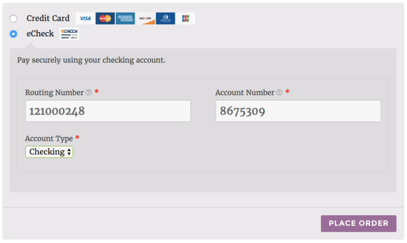woocommerce authorize net aim echeck payment