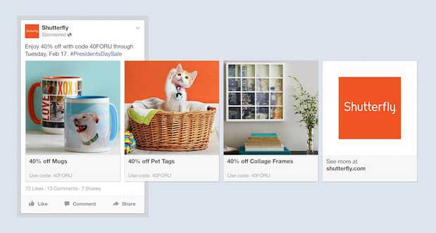 Facebook Multi-Products ad