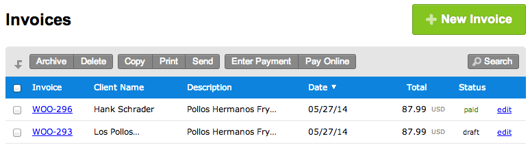 WooCommerce FreshBooks Invoices