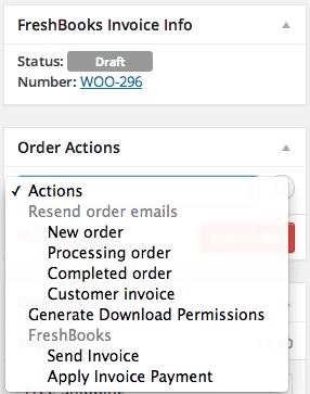 WooCommerce FreshBooks Order Screen