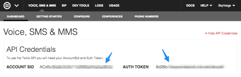 WooCommerce Twilio API Credentials SID and Auth Token