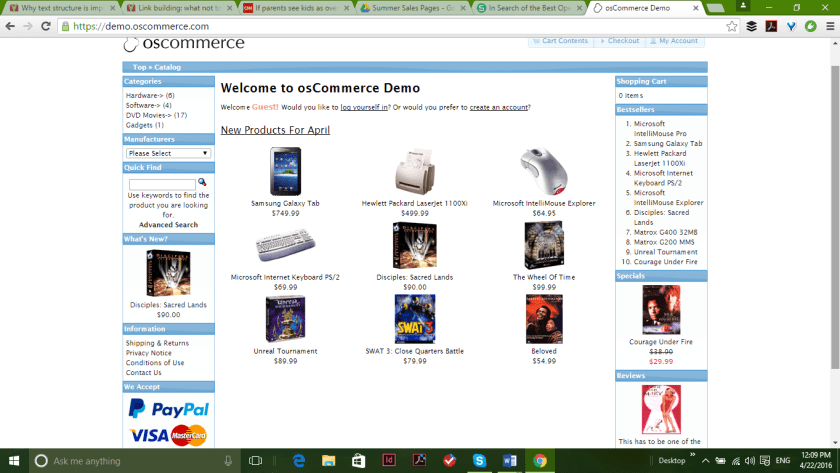 osCommerce open source eCommerce platform