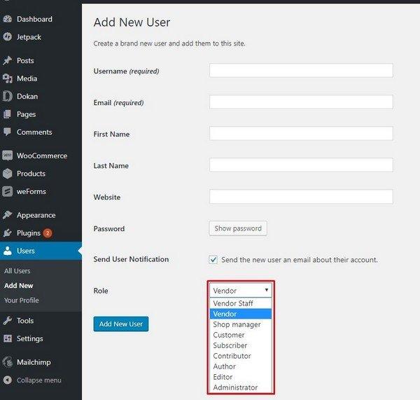 Add New User in Dokan