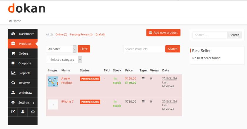 Enterprise eCommerce-Dokan Seller Dashboard Products