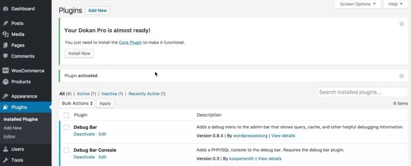Dokan Core Plugin Installation-Launch eCommerce store