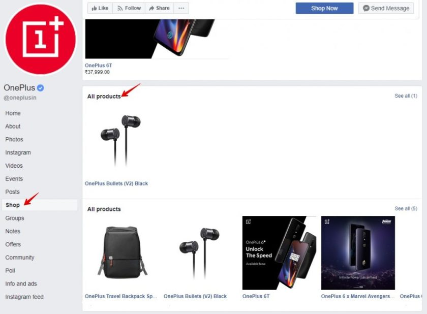 Facebook Shop Example-for eCommerce