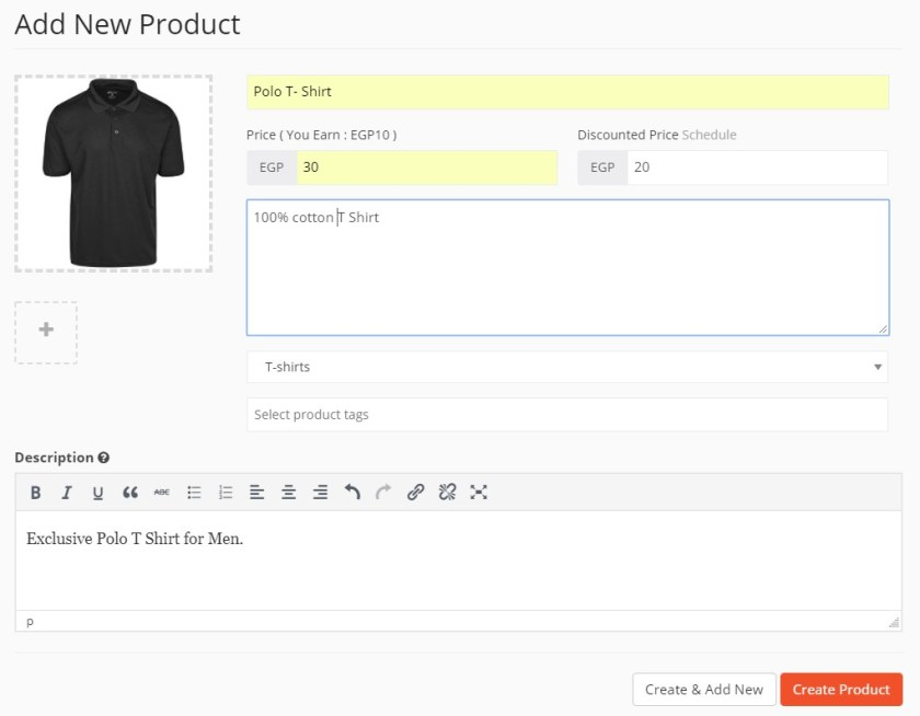 Adding new products to Online Cloth Store Marketplace